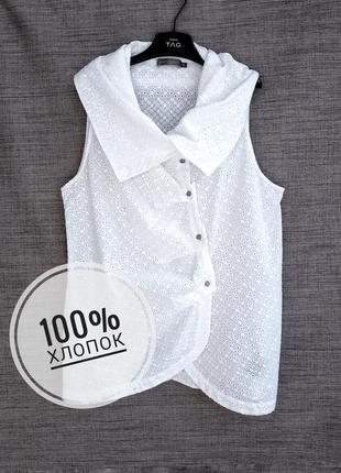 Оригинальная белая блуза из хлопка прошва mint velvet.