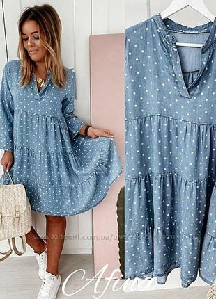 Свободное лёгкое льняное платье в горошек орверсайз лен