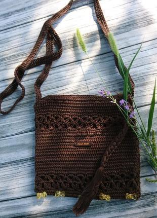 Вязаная летняя сумка - маленькая сумочка через плечо