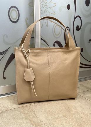 Сумка кожаная мягкая сумка-мешок из натуральной кожи сумка из мягкой кожи бежевая сумка кожа