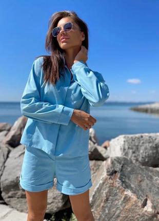 Голубой костюм из льна (шорты и рубашка оверсайз)
