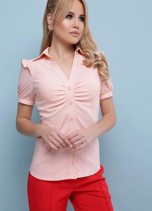 Персиковая блузка с рюшами