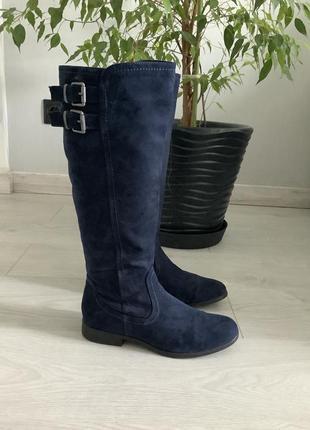 Распродажа! темно-синие замшевые демисезонные сапоги на молнии без каблука размер 39