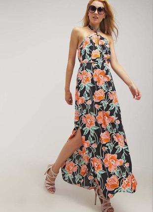 Платье на бретельках в цветочный принт zara