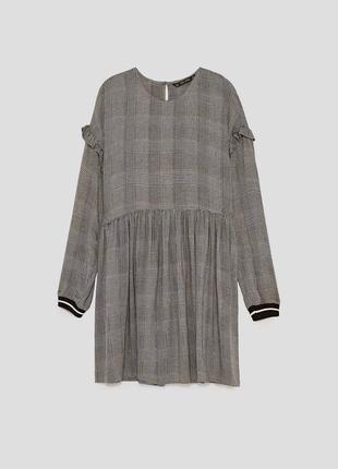 Платье в клетку с волнами рюшами zara