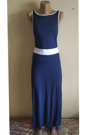 Сарафан длинный в пол синий белый красивый с открытой спиной повседневный