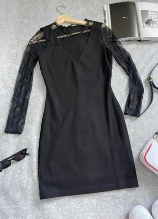 Твое идеальное маленькое черное платье! трикотаж+кружево,  s