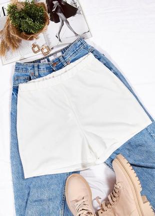 Белые шорты женские, короткие шорты широкие, мини шорты женские