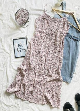 Вискозный сарафан/платье в бельевом стиле в цветочный принт
