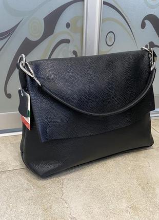 Сумка кожаная мягкая сумка шкіряна чорна італійська сумка чорна