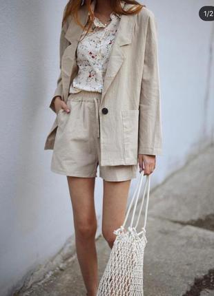 Костюм шорты +пиджак лен