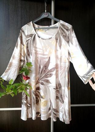 Шикарная туника блуза блузка. цветы. лёгкая, тонкая, мягкая. ann harvey