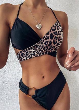Раздельный купальник лео леопардна завязках с кольцом