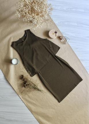 Сукня в рубчик кольору хакі