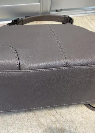 Сумка кожаная серая мягкая сумка кожаная сумка-мешок сумка жіноча сіра6 фото