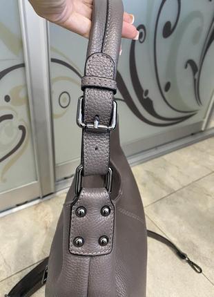 Сумка кожаная серая мягкая сумка кожаная сумка-мешок сумка жіноча сіра5 фото
