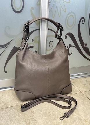 Сумка кожаная серая мягкая сумка кожаная сумка-мешок сумка жіноча сіра1 фото