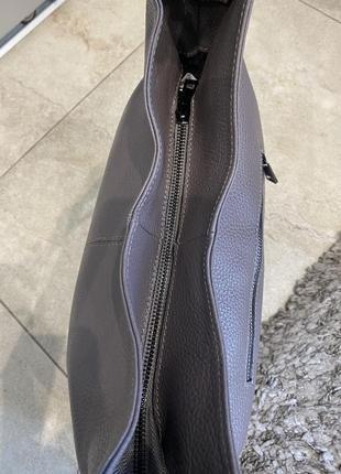 Сумка кожаная серая мягкая сумка кожаная сумка-мешок сумка жіноча сіра9 фото