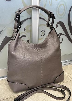 Сумка кожаная серая мягкая сумка кожаная сумка-мешок сумка жіноча сіра2 фото
