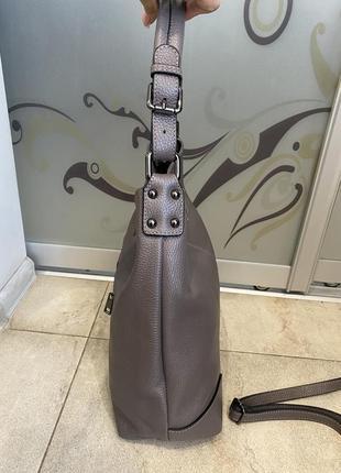 Сумка кожаная серая мягкая сумка кожаная сумка-мешок сумка жіноча сіра8 фото