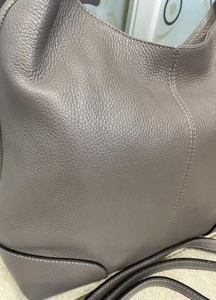 Сумка кожаная серая мягкая сумка кожаная сумка-мешок сумка жіноча сіра4 фото