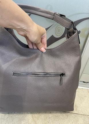 Сумка кожаная серая мягкая сумка кожаная сумка-мешок сумка жіноча сіра7 фото
