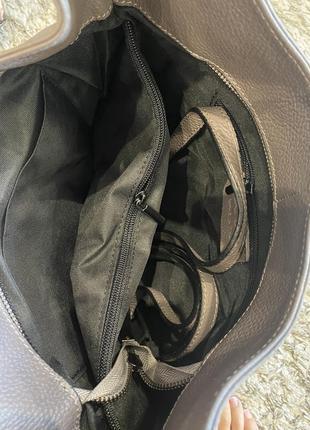 Сумка кожаная серая мягкая сумка кожаная сумка-мешок сумка жіноча сіра3 фото