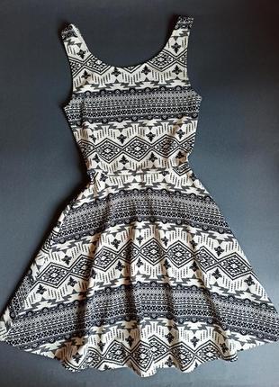 H&m hm базовое платье сарафан этно принт орнамент етно-принт етнопринт етно сукня плаття міні-сукня
