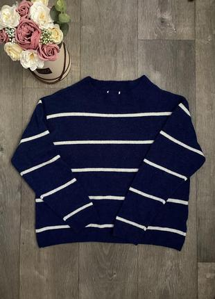 Синий свитер в полоску , тёплый свитер