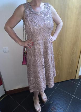 Бежевое платье вечерне платье пудровое платье миди платье с пайетками