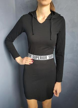 Спортивное черное платье на резинке h&m размер хс-с