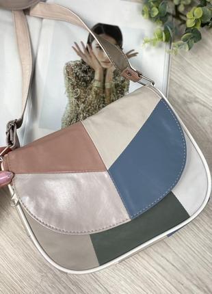 Натуральная кожа кожаная сумка через плечо сумочка клатч кроссбоди цаетная разноцветная