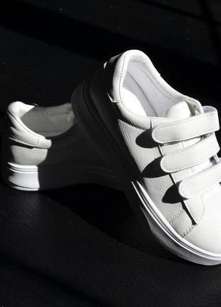 Кроссовки кожаные на липучках, базовые кеды на липучках, женские кеды кожаные белые2 фото