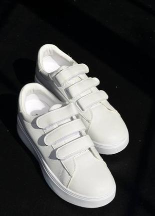 Кроссовки кожаные на липучках, базовые кеды на липучках, женские кеды кожаные белые5 фото