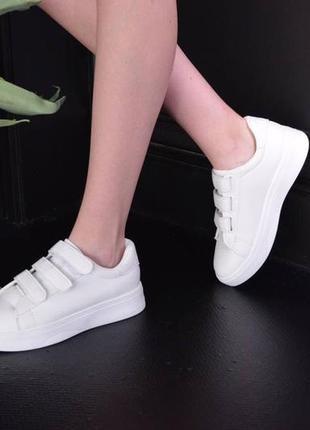 Кроссовки кожаные на липучках, базовые кеды на липучках, женские кеды кожаные белые4 фото