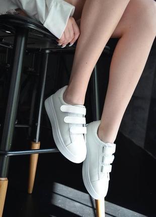 Кроссовки кожаные на липучках, базовые кеды на липучках, женские кеды кожаные белые