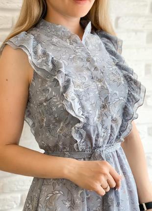 Платье женское летнее легкое батал свободное шифоновое цветочное