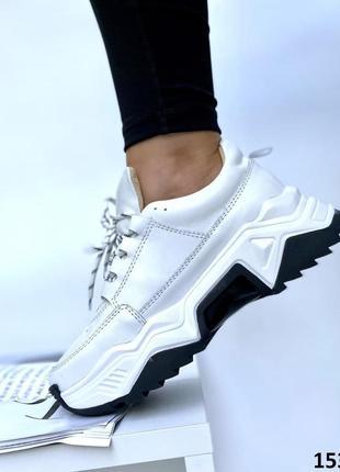 Стильные женские кожаные кроссовки топ качества на платформе, белые