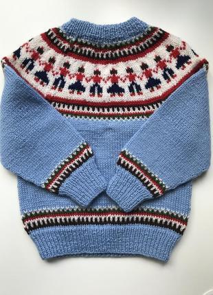 Детский шерстяной вязаный свитер кофта реглан джемпер норвежский handmade винтаж не винтаж