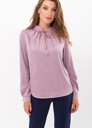 Лиловая шелковая блузка