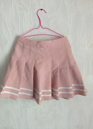 Розовая аниме юбка с полосками