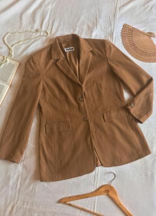 Кашемировый однобортный пиджак цвета кэмел в полоску ouiset (размер 40-42)