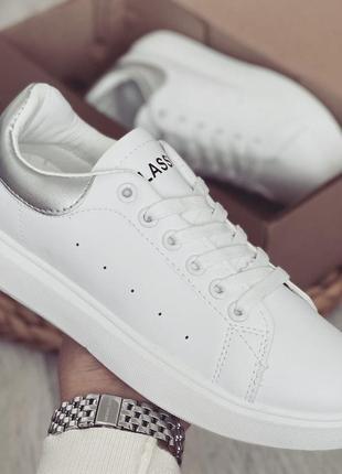 Стильные женские кеды кроссовки белые