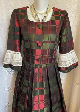Винтажное ретро платье миди рюши с кружевами франция
