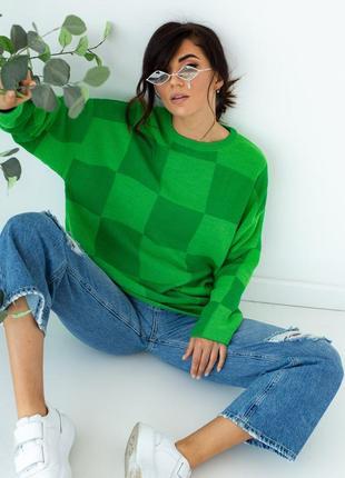 Зеленая кофта оверсайз в шахматном узоре