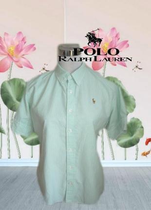 🌾ralph lauren оригинал женская стильная рубашка в полоску кор. рукав хлопок 🌾