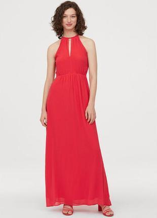 Новое длинное алое платье h&m. размер 36