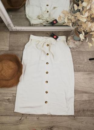 Фирменная стильная миди юбка на пуговицах dorothy perkins лен + вискоза
