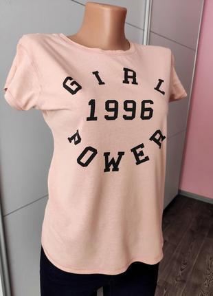 Футболка женская розовая с надписью коттон 1996 girl power atmosphere