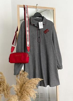 Оверсайз платье рубашка из фланели zara